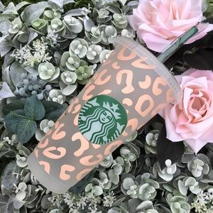 Starbucks custom matte pink leopard print cold cup